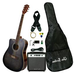 Glen Burton GA204BCO-BK Acoustic Electric Cutaway Guitar, Bl