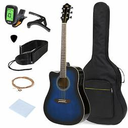 BCP 41in Full Size Acoustic Electric Cutaway Guitar Set w/ C