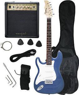 Crescent Blue Metallic Electric Guitar+15w AMP+Strap+Cord+Gi