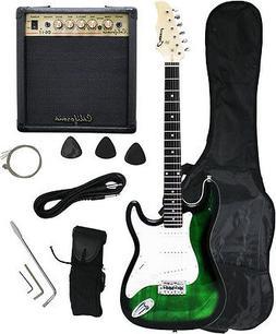 Crescent GREENBURST Electric Guitar+15w AMP+Strap+Cord+Gigba