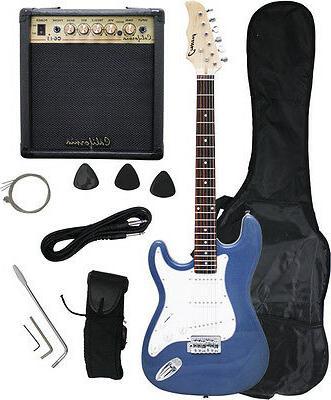 blue metallic electric guitar 15w amp strap