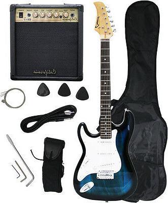 crescent blueburst electric guitar 15w amp strap