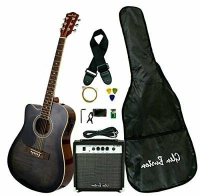 Glen Burton Acoustic Electric Cutaway Guitar, Black Guitar k