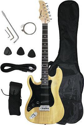 ~Sale New Crescent NATURAL Electric Guitar+Strap+Gigbag+WARR