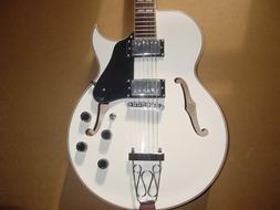 New White 6 String Hollow Body Electric Guitar Glen Burton w